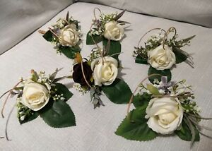 Wedding Guest Silk Buttonholes -  Ivory Cream Faux Silk Rose