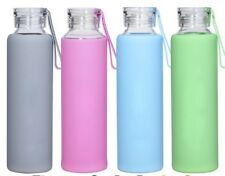 550ml Glass water bottle with silicone sleeve. BPA Free bottle.