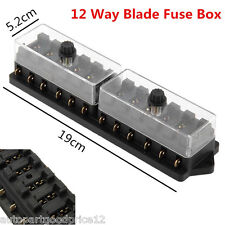 12V Car Truck Boat 12 Way Circuit Standard Blade Fuse Box Block Holder Universal