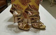 Ladies Promise Gold Lace Strap Open Toe With 5 inch Heel Pump Shoes preowned