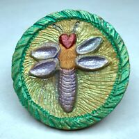 Original Frank Rossi studio button - hand-carved wooden dragon fly