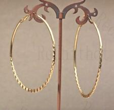 "18K Gold Filled 2.8"" Earring Oversize Circle Lace Hollow Hoop Bohemia Jewelry DS"