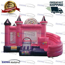 15x13ft Inflatable Princess Bouncy House Castle Bouncer & Slide With Air Blower