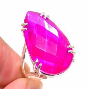 Pink Rubillite Handmade Gemstone Ethnic Gift Jewelry Ring Size 9 RL-17756