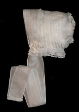 NEW Lace & Tucks Adult Sized Baby's Bonnet - Pete _ From Premie to 18 mths