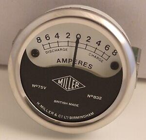 """MILLER REPLICA 2"""" SHALLOW AMMETER FOR HEADLAMP FITTING 8-0-8 75V 832"""