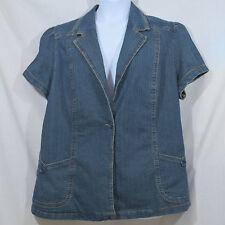 Women's Plus 3X Stretch Blue Jean 1 Button 2 Pocket Short Sleeve Blazer Shirt