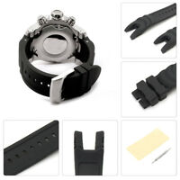 26mm Black Rubber Wrist Watch Band Strap For Invicta Reserve Collection