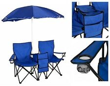 Beach Umbrella With Double Chairs Set Folding Camping Portable Picnic Furniture