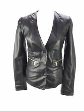 Hip Length Leather Casual Popper Coats & Jackets for Women