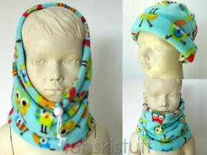 Girls Boys Kids Child Owl Bird Cute SNOOD neck warmer fleece balaclava scarf hat