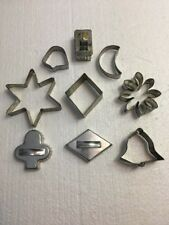 Vintage Metal Tin Cookie Cutters Lot Of 9
