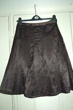 New Sz 8 Next Black Satin A-line Midi Skirt Stitched Pleat Detailing Lined