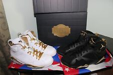 NIKE AIR RETRO JORDAN 6/7 VII VII GOLDEN MOMENT PACK GMP WHITE BLACK GOLD SIZE 9