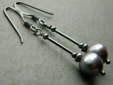 Peacock Pewter Black Freshwater Pearls & Oxidised Sterling Silver Drop Earrings