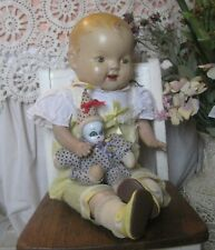 "LARGE Antique 23"" composition/cloth baby doll - TIN EYES"