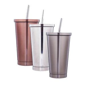 Edelstahl Becher mit Deckel und Strohhalm - Kaffeebecher für Kaffee, Tee,
