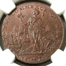 1794 GREAT BRITAIN 1/2 PENNY LINCOLNSHIRE-SPALDING NGC MINT STATE 64 BN D&H 6