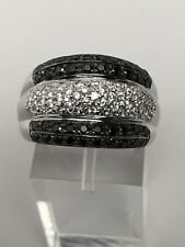 14K White Gold Black and white Cubic Zirconia Pave Dome Ring Size 8