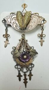Long Antique Victorian 14K Green Yellow Rose Gold Amethyst Seed Pearl Pendant