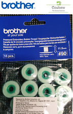 10 Brother Pre Wound Embroidery Bobbin Thread White 90 Weight #90 11.5 Bobbins