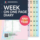 Filofax A5 / Personal COMPATIBLE Any year Week on one page organiser refill