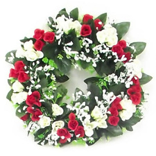 Artificial / Silk Flower Wreath  Red and Ivory Rosebuds and Gyp Grave / Memorial