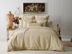 New Bianca Annabelle Super King Size Quilt / Doona Cover Set Gold Shimmer