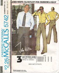 1970's VTG McCall's Men's Pants John Weitz Pattern 5742 Size 30-34 UNCUT