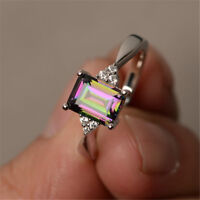 925 Silver Mystic Rainbow Topaz Wedding Jewelry Woman Engagement Ring Size 6-10