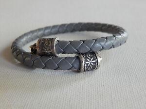 Silver Tone Alex and Ani  Vintage Sixty Six Gray Leather Wrap Bracelet