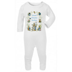 Boys Peter Rabbit Personalised Printed Babygrow/Bodysuit with your message