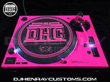 Custom Florescent Pink & Black Technics SL 1200 mk5 white leds halo powder coat