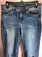 Zara Basic Z1975 Size 00 Jeans Distressed Low Rise Medium Wash Skinny Raw BC17