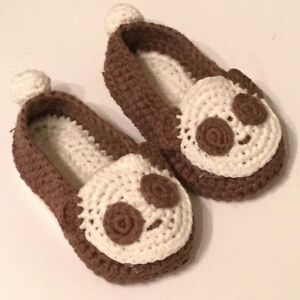 Crochet Baby Booties Baby Shoes Panda - Unisex - Size M (3-6 months)
