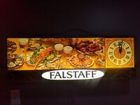 "RARE 40"" Falstaff Beer Lighted Sign Clock Vintage Bar Light Advertisment"