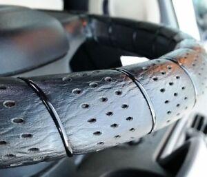 "Steering Wheel Cover Lace Up Soft Grip Leather Look  Car Van 38cm 13""-15"" Black"