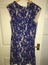 OASIS WOMENS UK SIZE 12 BLUE FLORAL PATTERN KNEE LENGTH SLEEVELESS DRESS (EX)