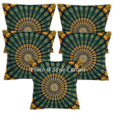Decorative Cotton Pillow Covers Black 16 Inch Printed Mandala Cushion Covers