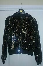 Primark Atmosphere Womens Black Silver Sequin Velvet Bomber Jacket UK10 BNWT