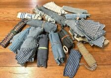 Grouping Lot of Fabric Bundles c 1900s Vintage Weaves Blue Checks