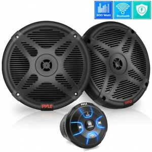 "Pyle PLMRKT8 Dual 6.5"" Waterproof Marine Speakers w Amplified Bluetooth Receiver"