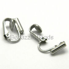 2 Silver Platinum Plated Clip On Earring Converters Pierced into Clip ons