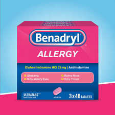 Benadryl Allergy Ultratabs, 144 Tablets - Free Shipping! - Fresh!