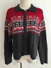 B.Moss Zipper Cardigan Sweater Red, Gray & White Nordic Snowflake Size L