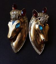 Vintage Brooch Coro Duette Sterling Silver Rhinestone Horse Fur Clips