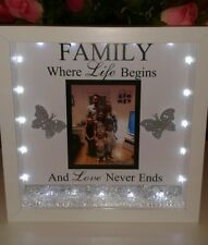 Personalised family 3D box frame gift with own  photo,  lights & crystals.