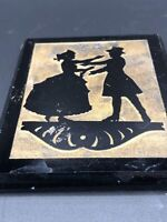 Vintage Reverse Silhouette Painting On Black Glass Block Couple Dancing