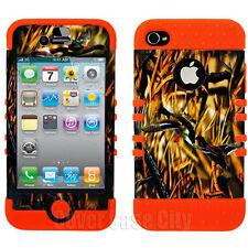 For Apple iPhone 4 4S Hybrid Orange Rubber Impact Cover Hunter Ducks Camo Case