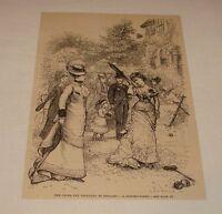 1886 magazine engraving ~ GARDEN PARTY PLAYING TENNIS+BADMINTON